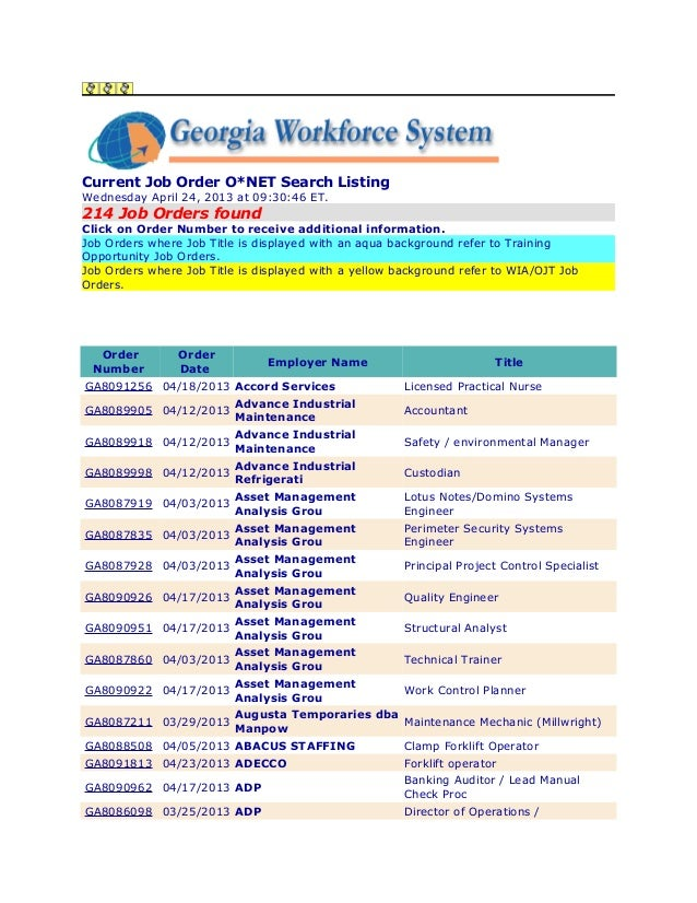 Current Job Order O*NET Search ListingWednesday April 24, 2013 at 09:30:46 ET.214 Job Orders foundClick on Order Number to...
