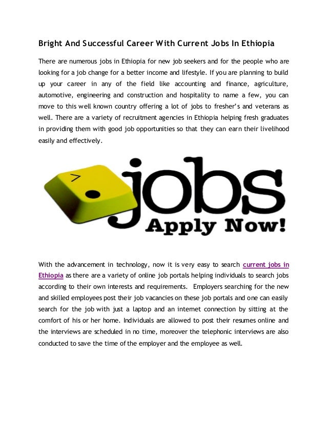 Looking For A Current Jobs In Ethiopia