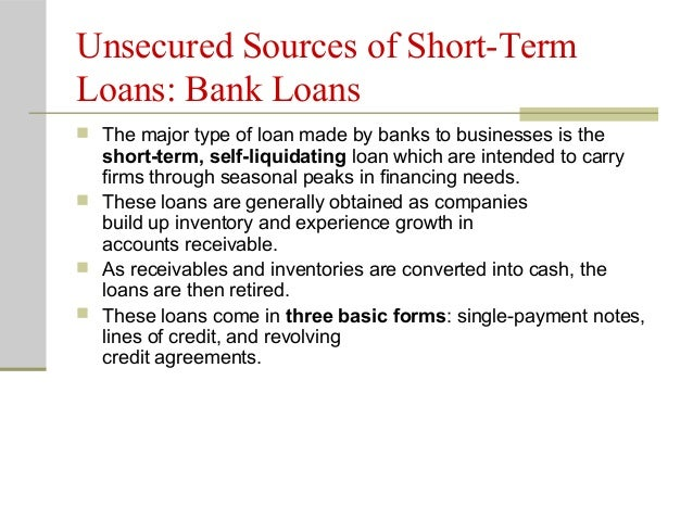 Types of unsecured self liquidating loan program