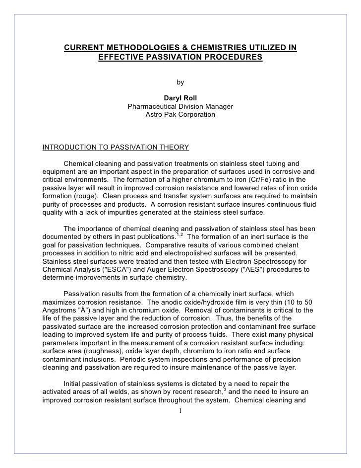 CURRENT METHODOLOGIES & CHEMISTRIES UTILIZED IN              EFFECTIVE PASSIVATION PROCEDURES                             ...