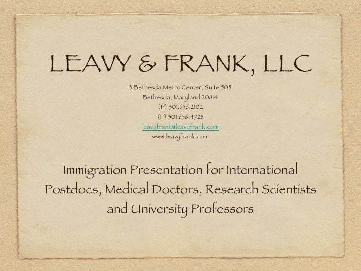 LEAVY & FRANK, LLC <ul><li>3 Bethesda Metro Center, Suite 505 </li></ul><ul><li>Bethesda, Maryland 20814 </li></ul><ul><li...
