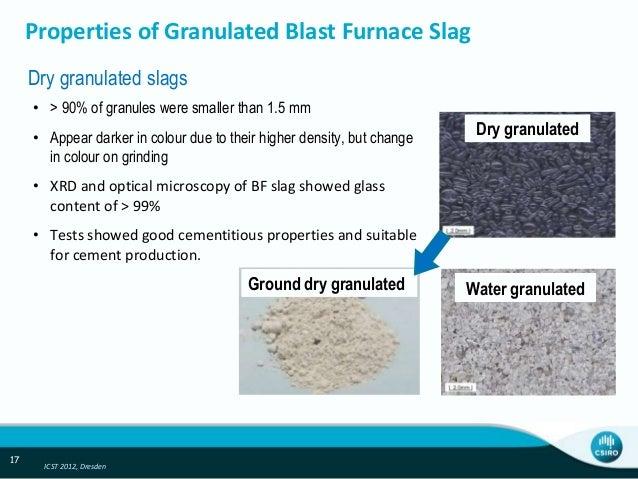 Blast Furnace Slag Properties : Dry slag granulation with waste heat recovery