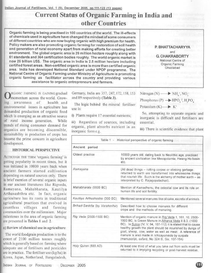 Indian Journal of Fertilisers. Vol. 1 (9). December 2005. PP.111-123 (13 paaes)                           Current Status o...