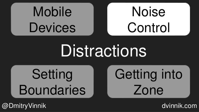 Mobile Devices Noise Control Getting into Zone Setting Boundaries Distractions Noise Control Setting Boundaries Getting in...