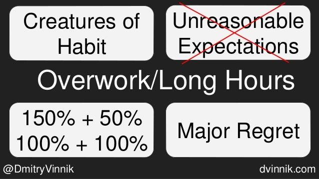 Creatures of Habit Unreasonable Expectations Major Regret 150% + 50% 100% + 100% Overwork/Long Hours @DmitryVinnik dvinnik...