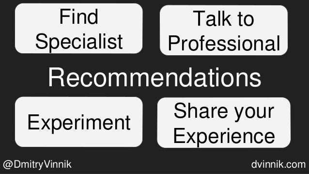 Recommendations Find Specialist Talk to Professional Experiment Share your Experience @DmitryVinnik dvinnik.com