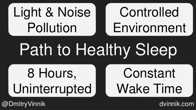 Path to Healthy Sleep Light & Noise Pollution Constant Wake Time Controlled Environment 8 Hours, Uninterrupted @DmitryVinn...
