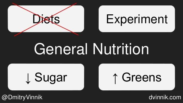 General Nutrition Diets ↑ Greens Experiment ↓ Sugar @DmitryVinnik dvinnik.com