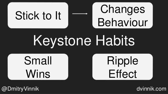Keystone Habits Stick to It Changes Behaviour Small Wins Ripple Effect @DmitryVinnik dvinnik.com