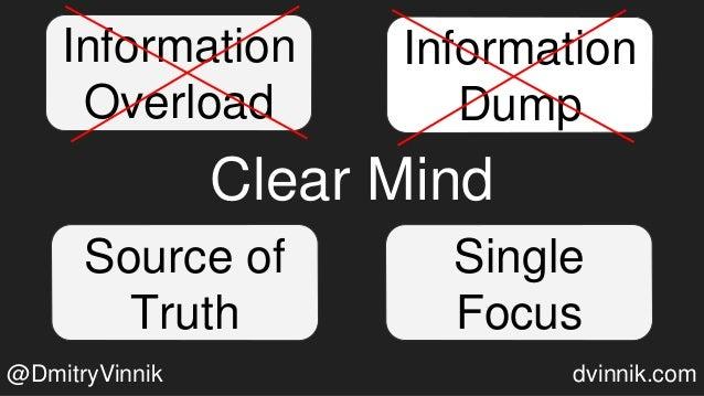 Clear Mind Information Dump Source of Truth Single Focus Information Overload @DmitryVinnik dvinnik.com