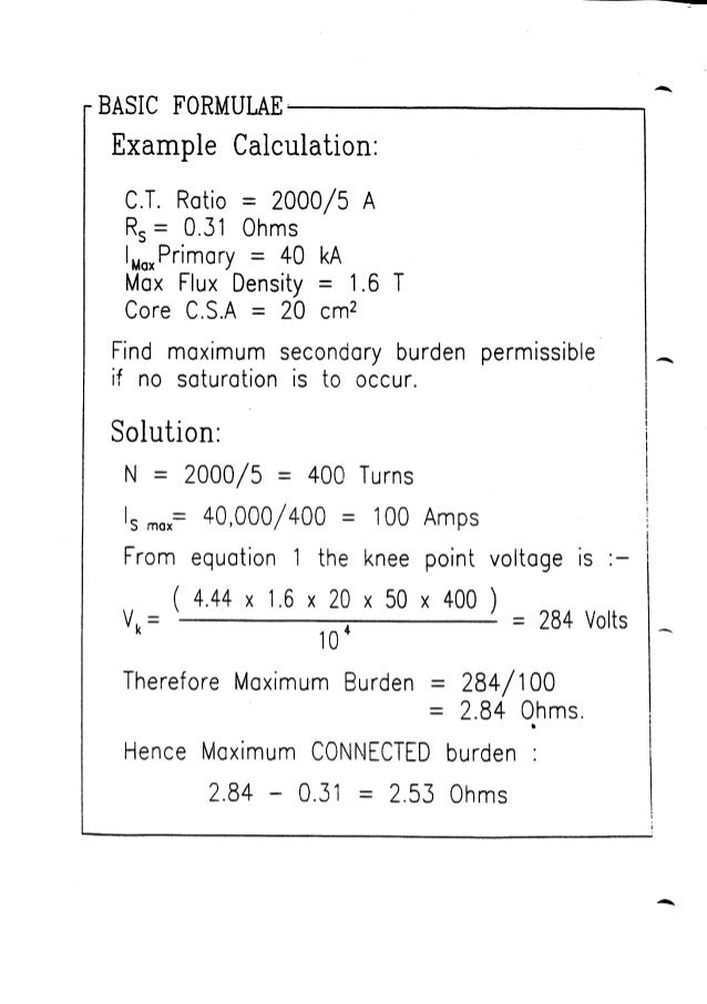 Current Transformer Requirements For Protection 1