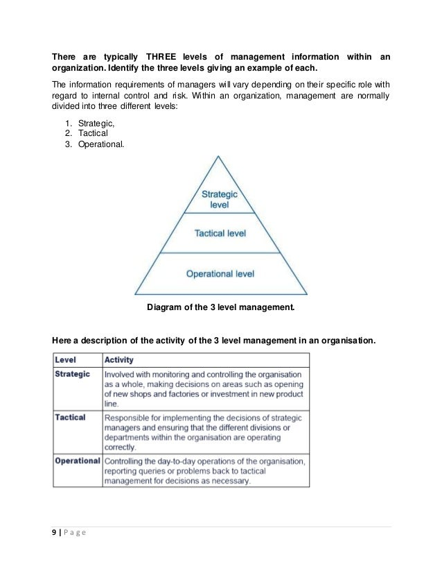 information requirements and levels of management