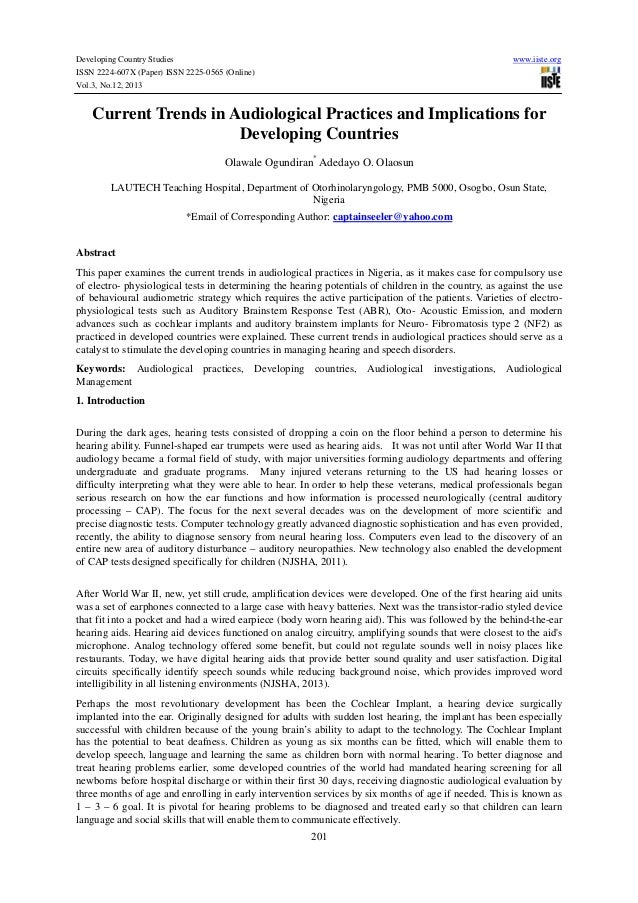 Developing Country Studies ISSN 2224-607X (Paper) ISSN 2225-0565 (Online) Vol.3, No.12, 2013  www.iiste.org  Current Trend...