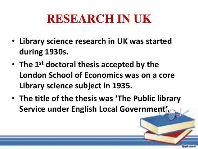 library science phd thesis Phd library & information science programs phd in library & information science phd lis home progression & milestones exams, proposal & thesis.