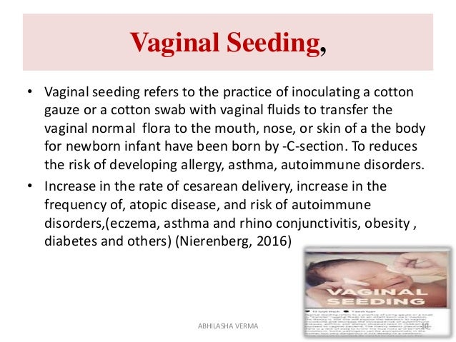Vaginal Seeding, • Vaginal seeding refers to the practice of inoculating a cotton gauze or a cotton swab with vaginal flui...