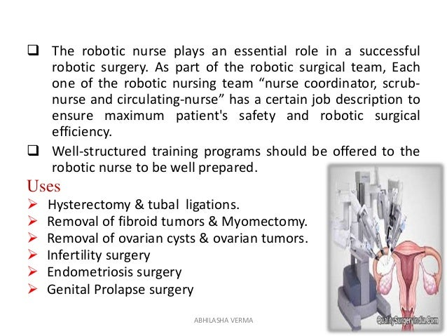  The robotic nurse plays an essential role in a successful robotic surgery. As part of the robotic surgical team, Each on...