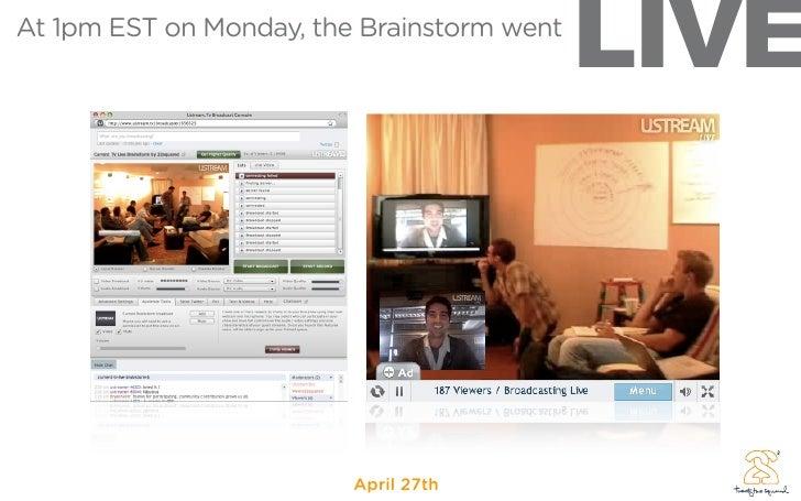 LIVE At 1pm EST on Monday, the Brainstorm went                              April 27th