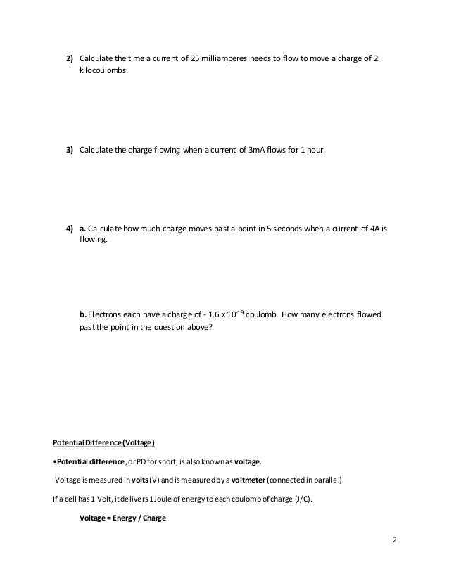 current and voltage in series and parallel- worksheet