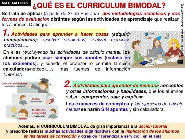 El curriculum bimodal en Matemáticas, Tecnología, Física y Química Slide 3