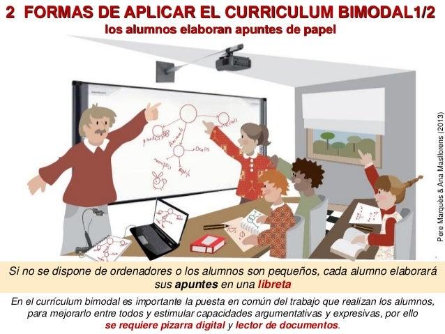 2 FORMAS DE APLICAR EL CURRICULUM BIMODAL1/2 los alumnos elaboran apuntes de papel En el currículum bimodal es importante ...