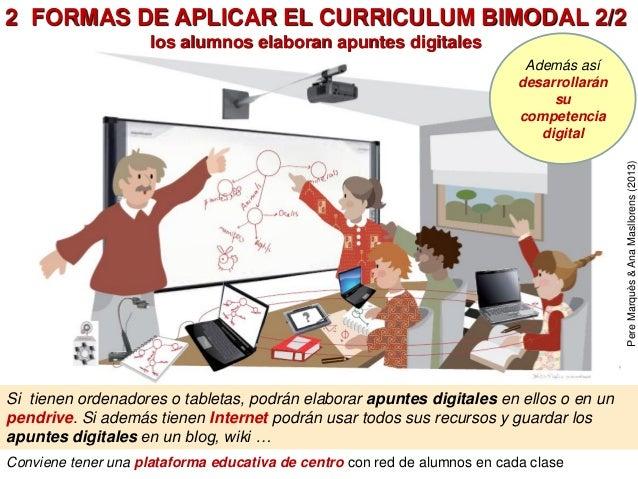 Conviene tener una plataforma educativa de centro con red de alumnos en cada clase 2 FORMAS DE APLICAR EL CURRICULUM BIMOD...