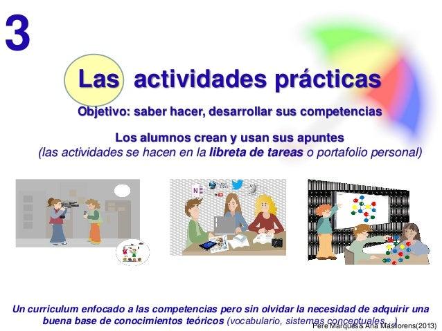 Pere Marquès& Ana Masllorens(2013) Las actividades prácticas Objetivo: saber hacer, desarrollar sus competencias Los alumn...