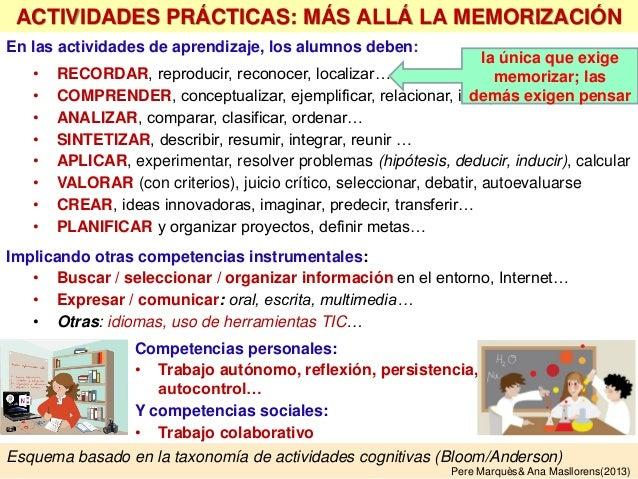 En las actividades de aprendizaje, los alumnos deben: • RECORDAR, reproducir, reconocer, localizar… • COMPRENDER, conceptu...