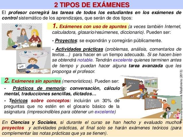 El profesor corregirá las tareas de todos los estudiantes en los exámenes de control sistemático de los aprendizajes, que ...