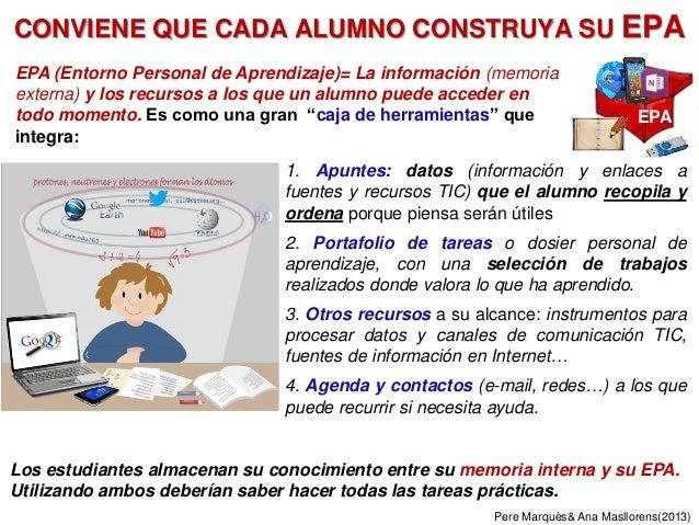 CONVIENE QUE CADA ALUMNO CONSTRUYA SU EPA EPA (Entorno Personal de Aprendizaje)= La información (memoria externa) y los re...