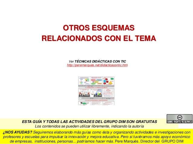 OTROS ESQUEMAS RELACIONADOS CON EL TEMA Ver TÉCNICAS DIDÁCTICAS CON TIC http://peremarques.net/didacticacontic.htm Pere Ma...