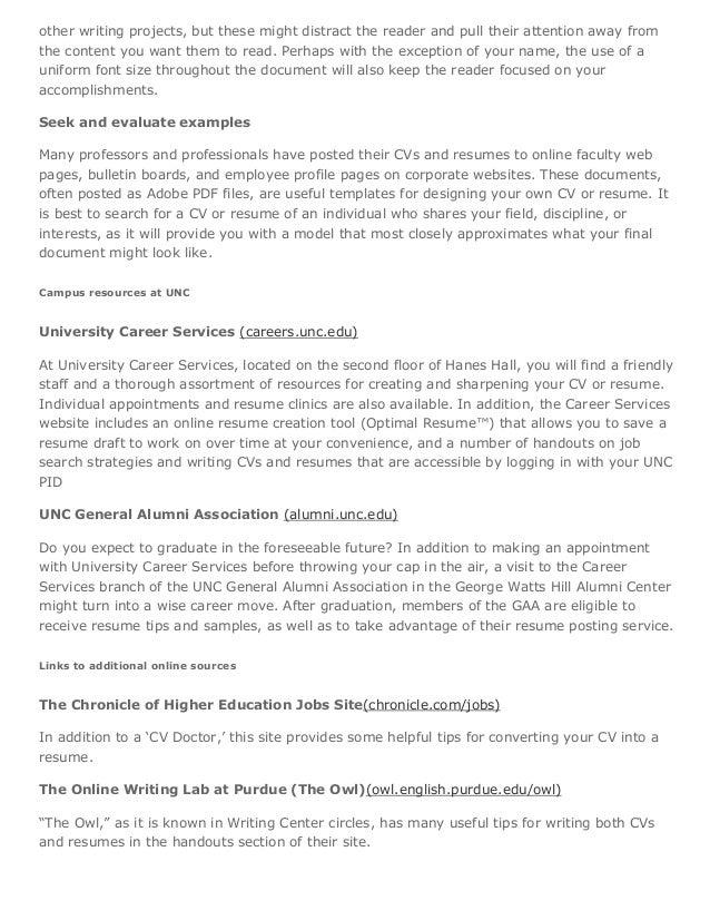 Curricula Vitae C Vs Versus Resumes The Writing Center