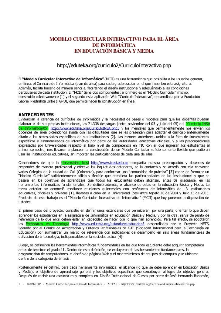 MODELO CURRICULAR INTERACTIVO PARA EL ÁREA                                    DE INFORMÁTICA                              ...