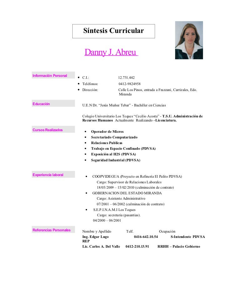 Curriculum danny 2011 for En resumen en ingles