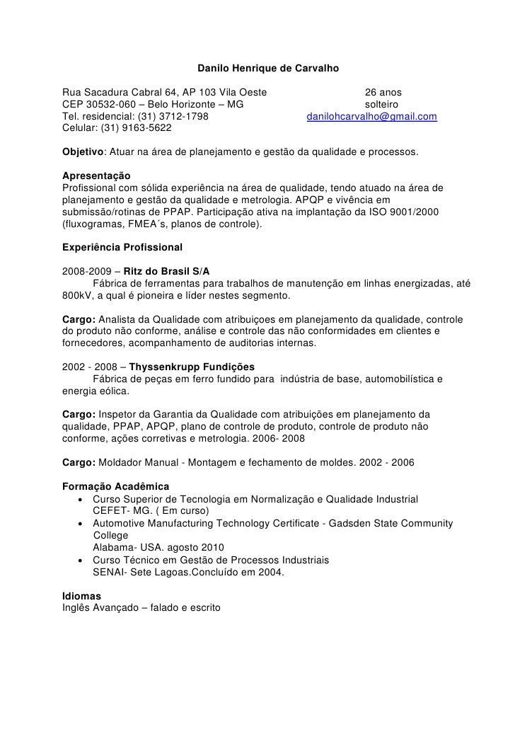 Modelo De Curriculum Vitae Em Portugues Do Brasil Modelo De