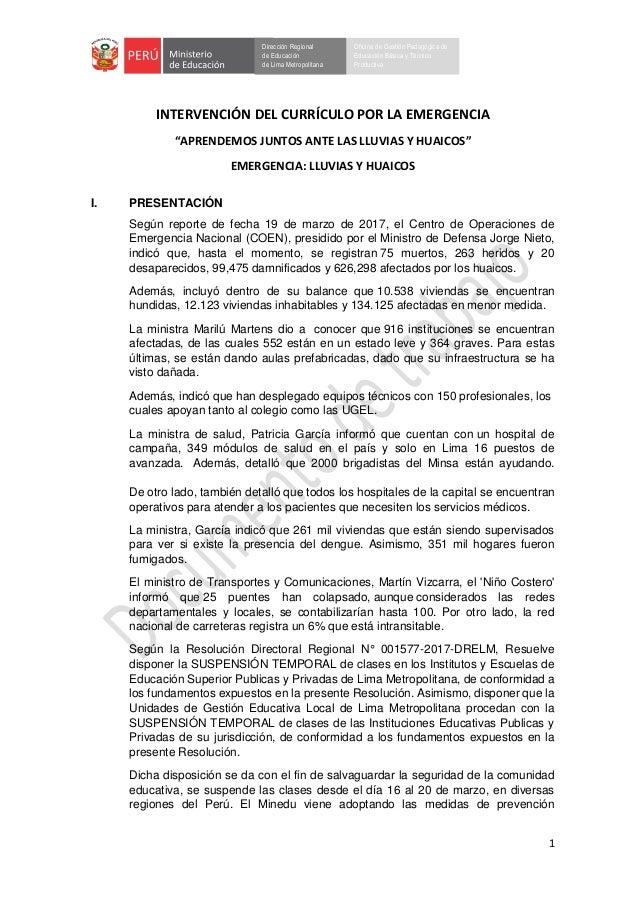 1 Dirección Regional de Educación de Lima Metropolitana Oficina de Gestión Pedagógica de Educación Básica y Técnico Produc...