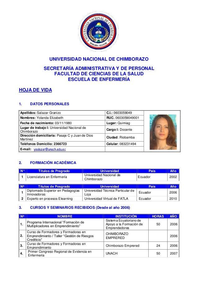 UNIVERSIDAD NACIONAL DE CHIMBORAZO SECRETARÍA ADMINISTRATIVA Y DE PERSONAL FACULTAD DE CIENCIAS DE LA SALUD ESCUELA DE ENF...