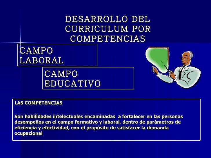 CAMPO LABORAL CAMPO EDUCATIVO DESARROLLO DEL CURRICULUM POR COMPETENCIAS LAS COMPETENCIAS Son habilidades intelectuales en...