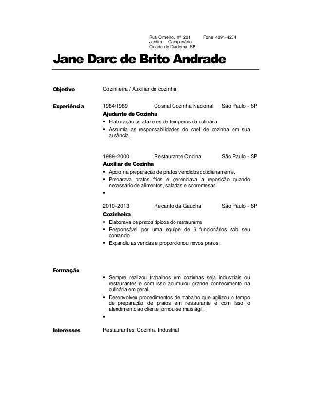 Curriculo de JANE DARC - Cozinheira e Auxiliar de Cozinha