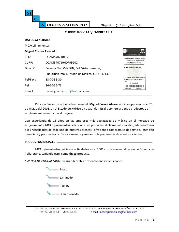 CURRICULO VITAE/ EMPRESARIALDATOS GENERALESMCAcojinamientosMiguel Correa AlvaradoRFC:           COAM570710J85CURP:        ...