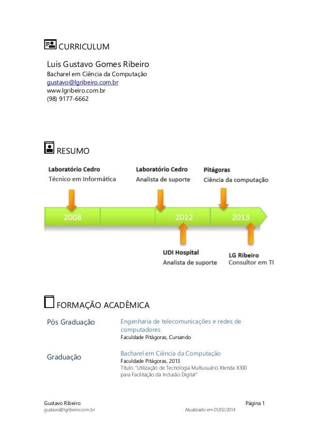 Gustavo Ribeiro Página 1 gustavo@lgribeiro.com.br Atualizado em 01/02/2014 CURRICULUM Luis Gustavo Gomes Ribeiro Bacharel ...