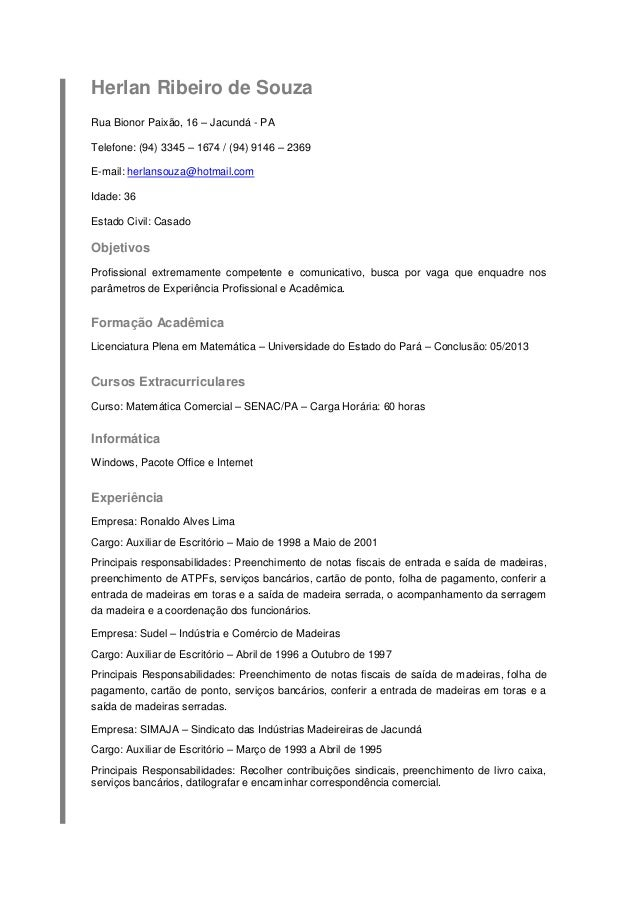 Herlan Ribeiro de Souza Rua Bionor Paixão, 16 – Jacundá - PA Telefone: (94) 3345 – 1674 / (94) 9146 – 2369 E-mail: herlans...