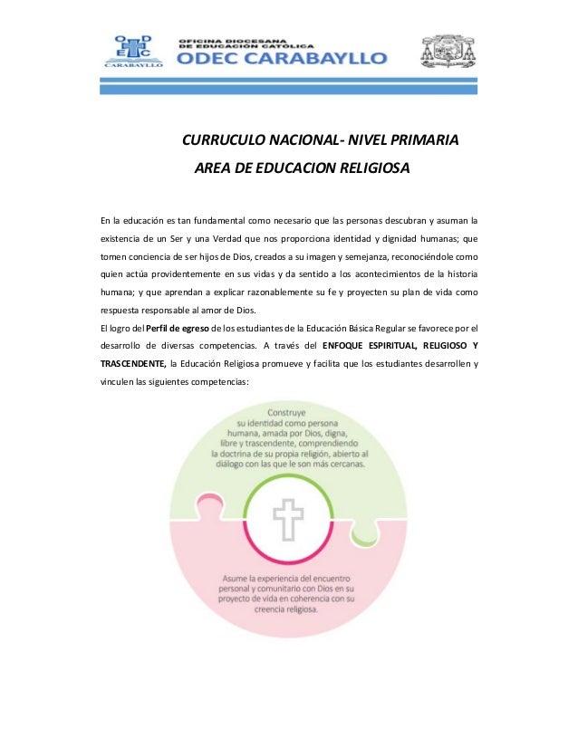 CURRUCULONACIONAL‐NIVELPRIMARIA AREADEEDUCACIONRELIGIOSA  Enlaeducaciónestanfundamentalcomonecesarioq...