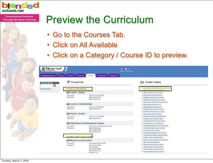 Preview the Curriculum    Customizing Solutions  Through Blended Learning                                 • Go to the Cour...