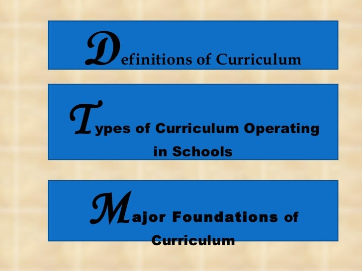 D efinitions of Curriculum T ypes of Curriculum Operating in Schools M ajor Foundations  of Curriculum