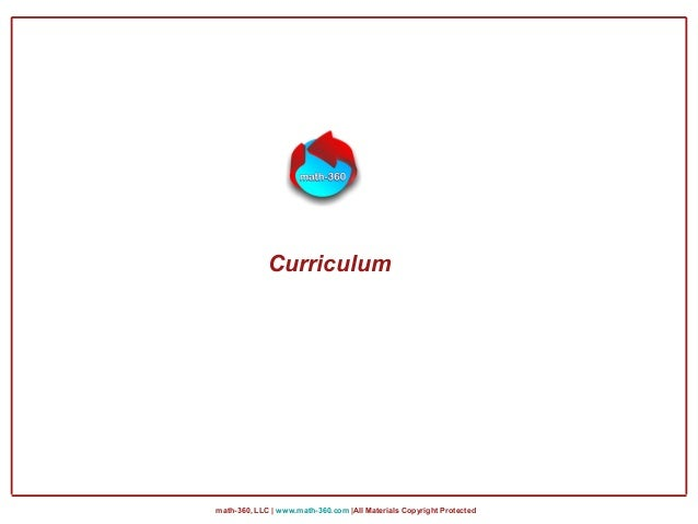 math-360, LLC | www.math-360.com |All Materials Copyright Protected Curriculum