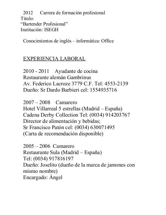 Curriculum - Ayudante de cocina madrid ...