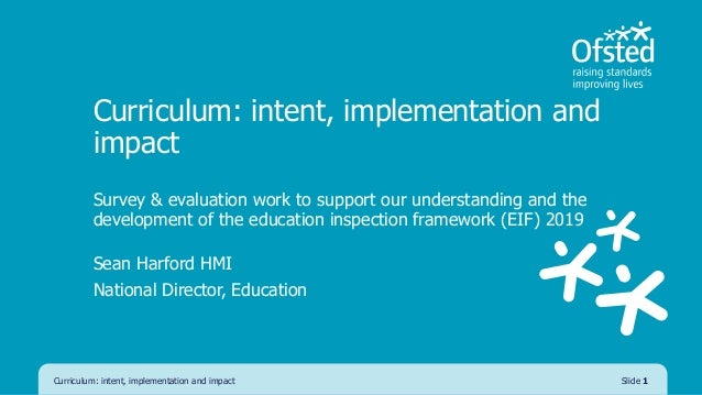 Curriculum: intent, implementation and impact Survey & evaluation work to support our understanding and the development of...