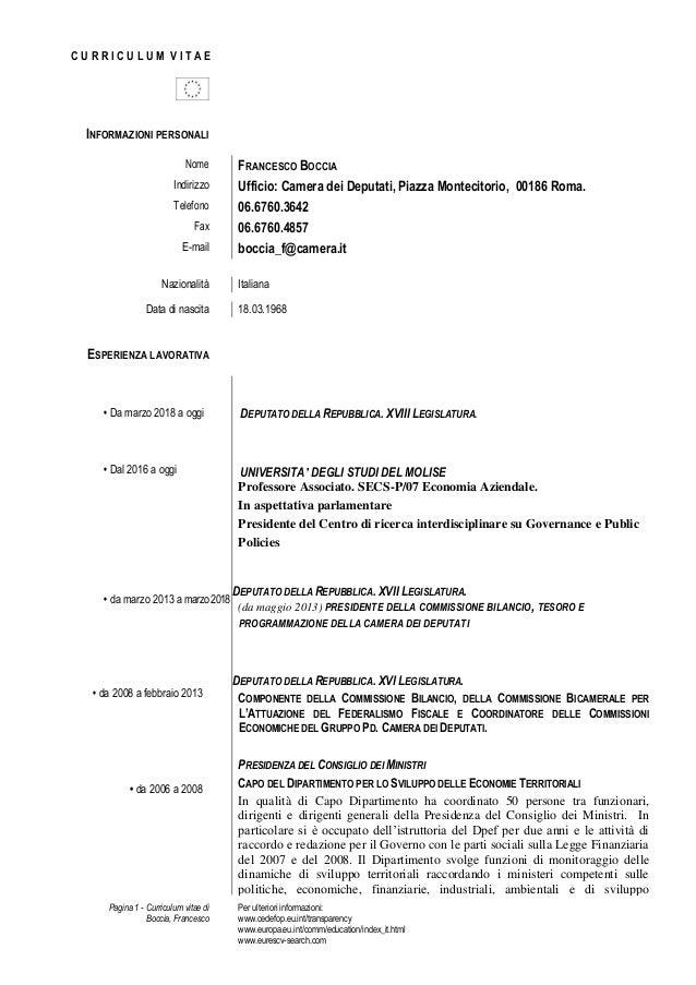 Pagina 1 - Curriculum vitae di Boccia, Francesco Per ulteriori informazioni: www.cedefop.eu.int/transparency www.europa.eu...