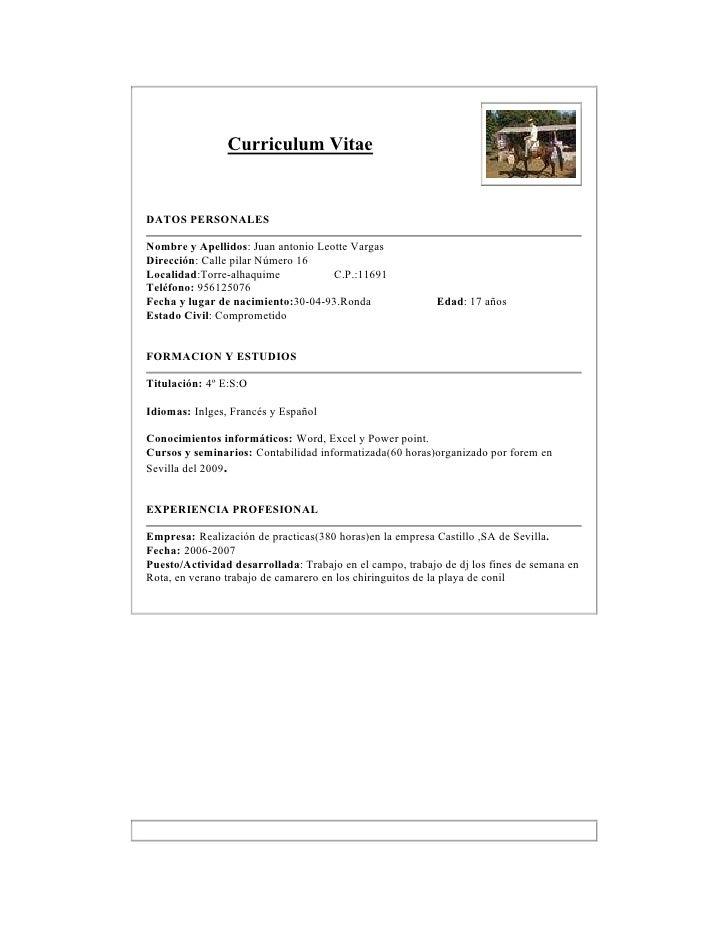 Curriculum Sencillo Con Foto