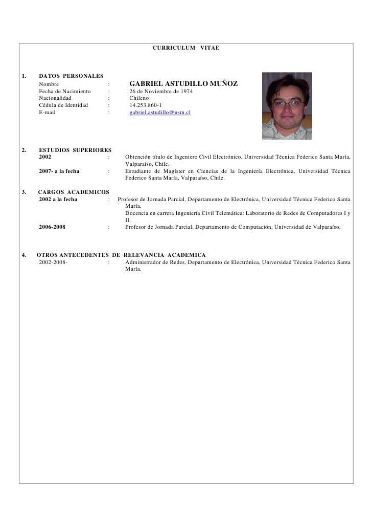 Curriculum Vitae Profesor Universitario Chile